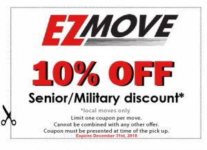 EZ Move 10% off senior military discount coupon for moving.