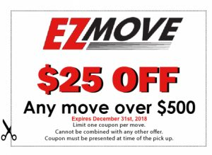 EZ Move $25 off coupon for any move over $500.