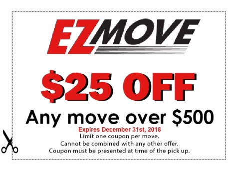 EZ Move $25 off coupon for any move over $500