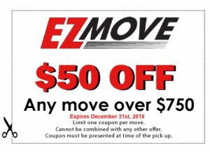 EZ Move $50 off coupon for any move over $750.