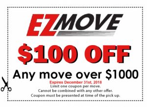 EZ Move $100 off coupon for any move over $1000.
