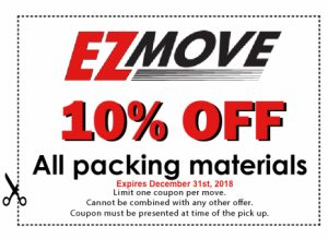 EZ Move 10% off coupon for All packing materials in tucson.