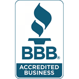 BBB accredited business logo in blue green.